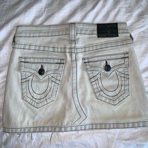 True Religion Frayed-Hem Denim Mini Skirt